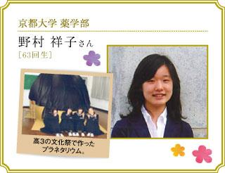 京都大学薬学部 野村 祥子さん[63回生]